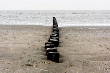 Wellenbrecher am Strand von Ameland von Rob IJsselstein