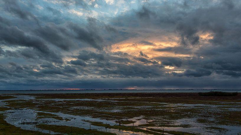 Dreigende lucht boven de Slikken van Flakkee van Bram van Broekhoven