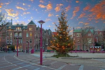 Kerstmis op het Museumplein in Amsterdam bij zonsondergang van Nisangha Masselink
