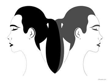 Wegschauen (Schwarz-Weiß) von Ton van Hummel (Alias HUVANTO)
