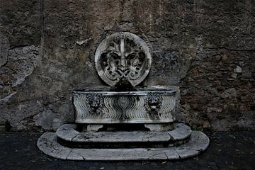Donkere fontein in Rome van Floortje Mink