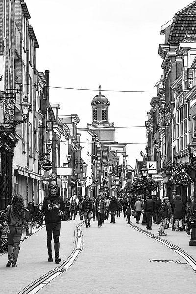 Pentekening Leiden Haarlemmerstraat Tekening Lijntekening van Hendrik-Jan Kornelis