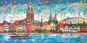 Sky Line Deventer van Vrolijk Schilderij