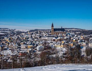 Uitzicht op de bergstad Schneeberg in de winter van Animaflora PicsStock