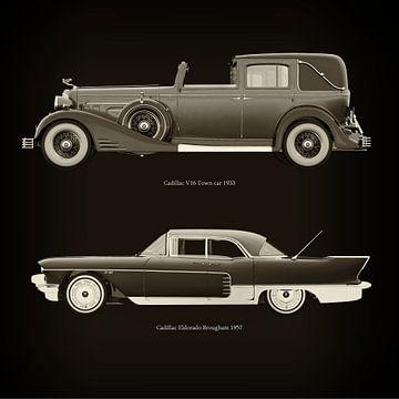Cadillac V16 Town car 1933 en Cadillac Eldorado Brougham 1957 van Jan Keteleer