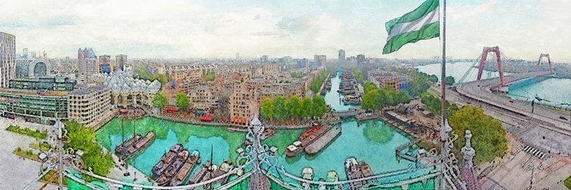 Panorama Oude Haven Rotterdam van Frans Blok