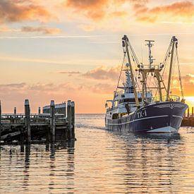 Kotter komt Texelse haven binnen tijdens zonsopkomst.. van Justin Sinner Pictures ( Fotograaf op Texel)