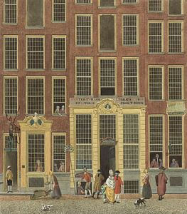 Die Buchhandlung und Lotterie-Agentur von Jan de Groot in der Kalverstraat in Amsterdam, Isaac Ouwat