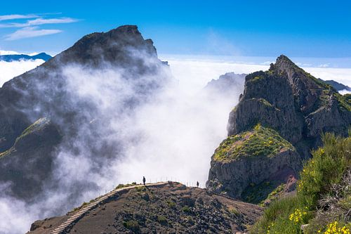 Wolken tussen de bergen van