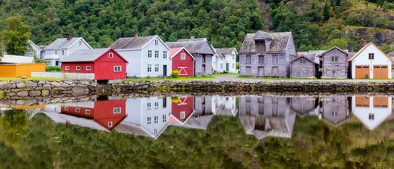 Historisch dorpsgezicht Lærdalsøyri in Noorwegen van Evert Jan Luchies