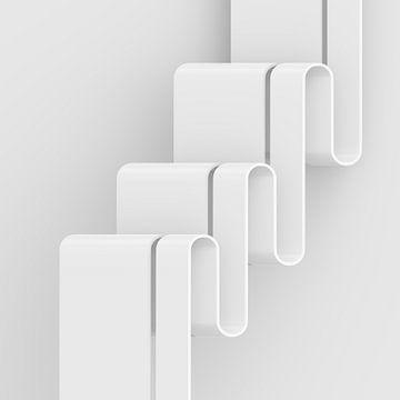 Verticale golven vierkant van Jörg Hausmann