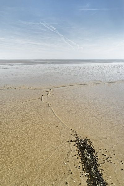 Noordzee - Uitzicht over een breed wadgebied bij laag water van Ralf Lehmann