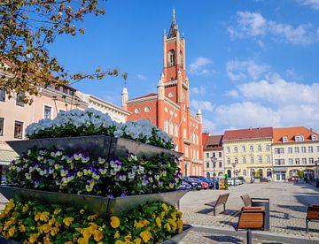 Gezicht op het marktplein en het stadhuis van Kamenz van Animaflora PicsStock