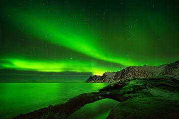 Aurora über dem Ersfjord von Wojciech Kruczynski