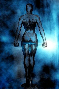 Blaue Fantasyarbeit einer Frau voller innerer Stärke. Auferstehung von Cor Heijnen