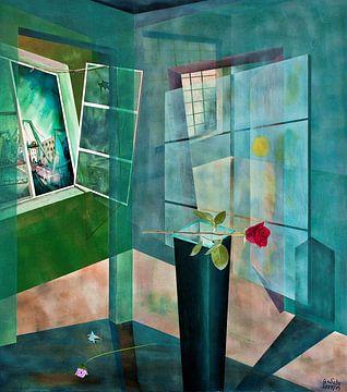Raumirritation  mit Rose von Gertrud Scheffler