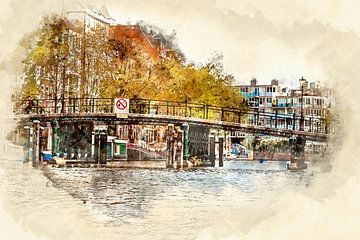 Brücke in Amsterdam (Kunst) von Art by Jeronimo