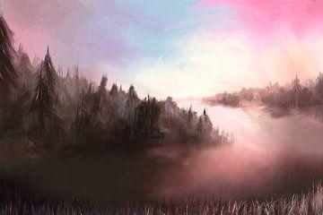 Landschap op een koude ochtend van Tanja Udelhofen