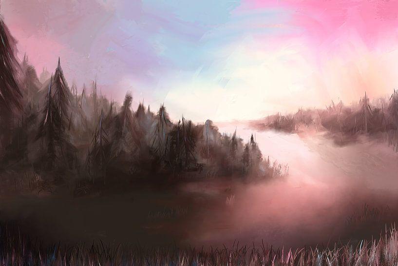 Landschaft an einem kalten Morgen von Tanja Udelhofen