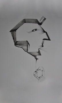 Surrealistisch en profil portret, man van Wouter Springer