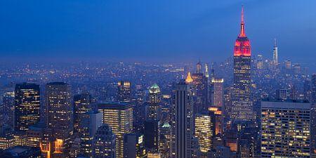 Manhattan New York met het Empire State Building in de avond, panorama