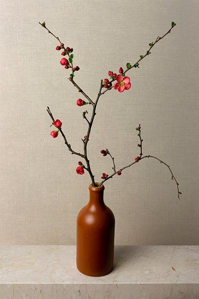 Blumenzweig in Vase, still leben japanischer Zierquitte, Japandi style von Joske Kempink