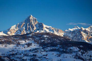 Alpengloed op de Bietschhorn van