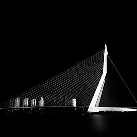 Erasmusbrug zwart wit van Prachtig Rotterdam