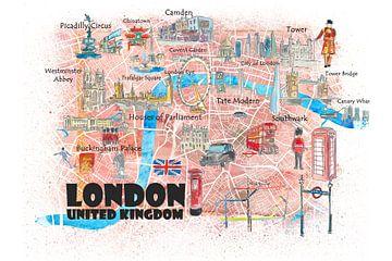 Londen UK Illustrated Travel Poster Favoriete kaart Toeristische hoogtepunten met straten van Markus Bleichner