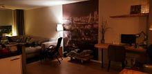 Klantfoto: Rotterdam in de avond (sepia2) van John Ouwens, als naadloos behang