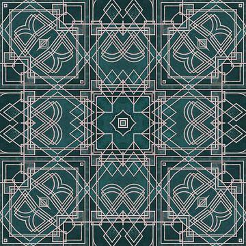 Elégance Art Déco Vert Emeraude et Rose sur Andrea Haase