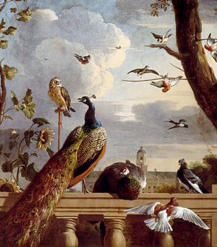 Vögel auf einer Balustrade - Melchior d'Hondecoeter von Meesterlijcke Meesters
