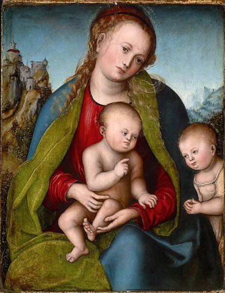 Lucas Cranach.Madonna mit Kind und das Johanneskind von 1000 Schilderijen