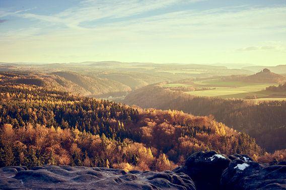 Evening mood in the Saxon Switzerland van Michael Moser