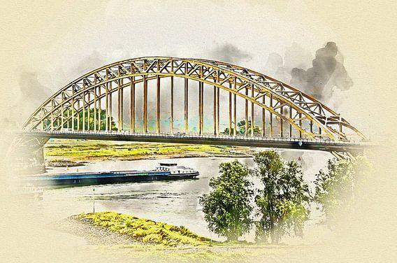 Waalbrug Nijmegen ter gelegenheid van de Vierdaagse 2016 van Art by Jeronimo