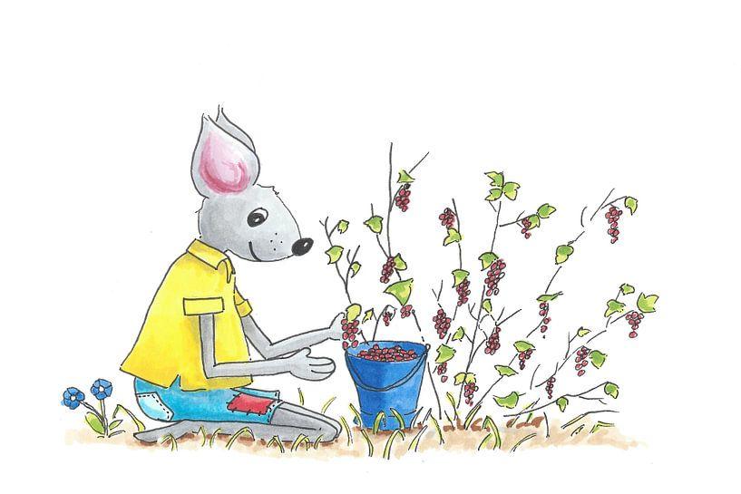 Illustration einer Beerenpflückmaus von Ivonne Wierink