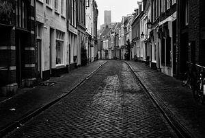 De Haverstraat richting Springweg in Utrecht in zwart-wit van