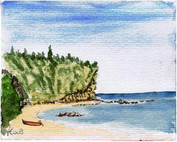 Griekenland - strand met rotspartij en vissersboot van ADLER & Co / Caj Kessler