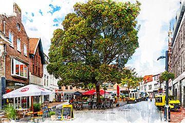 Kleine Markt in Vlissingen (kunst) van Art by Jeronimo