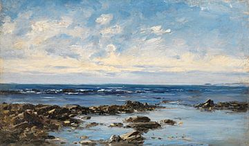 Carlos de Haes-Blauer Meerblick, blauer Himmel, Antike Landschaft