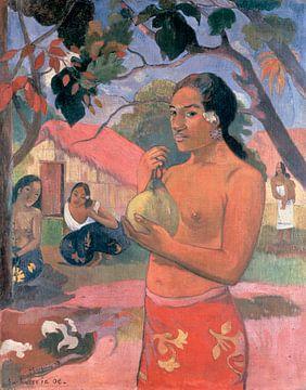 Frau, die eine Frucht hält; Wohin gehst du? (Eu haere ia oe), Paul Gauguin.