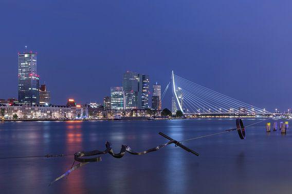 Het Maasbeeld met het zicht op het Noordereiland in Rotterdam van MS Fotografie