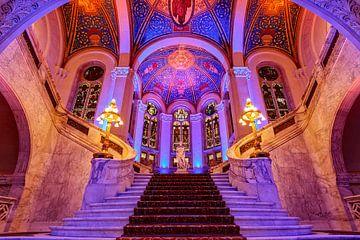hal van het Vredespaleis kleurrijk verlicht van gaps photography