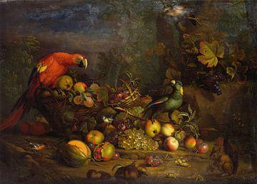 Papageien und Früchte mit anderen Vögeln und einem Eichhörnchen, Tobias Stranover