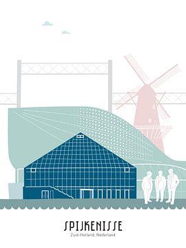 Skyline illustratie stad Spijkenisse in kleur van Mevrouw Emmer