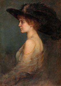 Profilbildnis einer Frau mit großem Hut von Antonije Lazovic