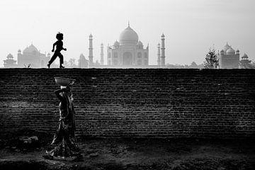 India - De Taj Mahal vanaf de oever van Marvin de Kievit