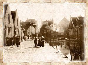 Edammerweg Volendam in sepia van