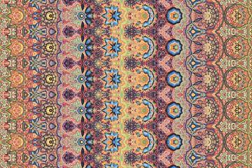 abstracte kleurrijke geometrische achtergrond met artistieke elementen als penseelstreek en acryltex van Ariadna de Raadt