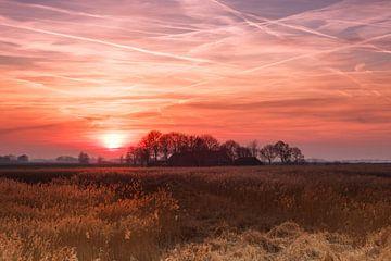 Sonnenuntergang über dem Mandjeswaard von Arjan van de Logt